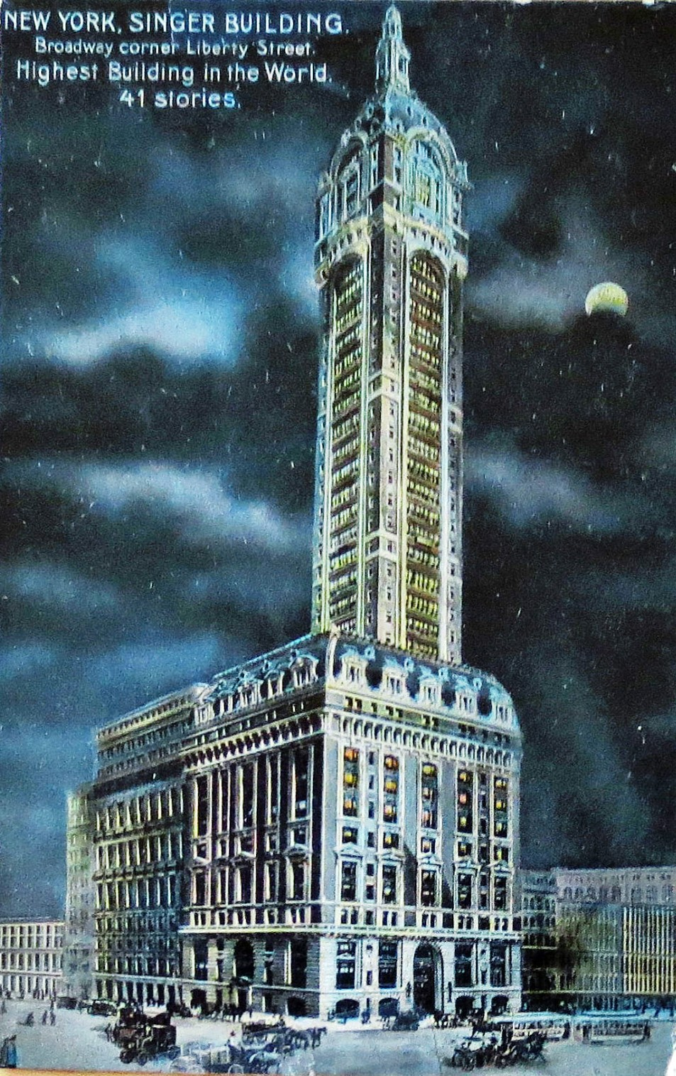 The Singer Building was the first in New York to be dramatically lit at night.