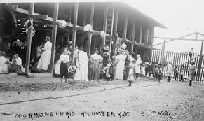 Mormon Refugees at Long Lumber Yard, 1912. Courtesy of UTEP and Library of Congress
