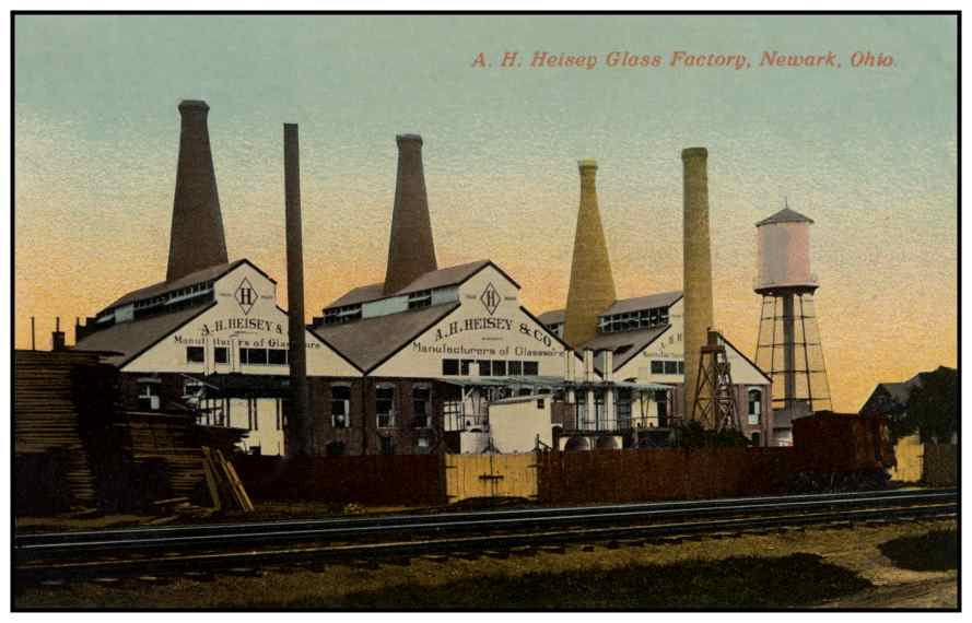 The Heisey Glass Factory. The buildings still remain, although the tall smokestacks have been removed.