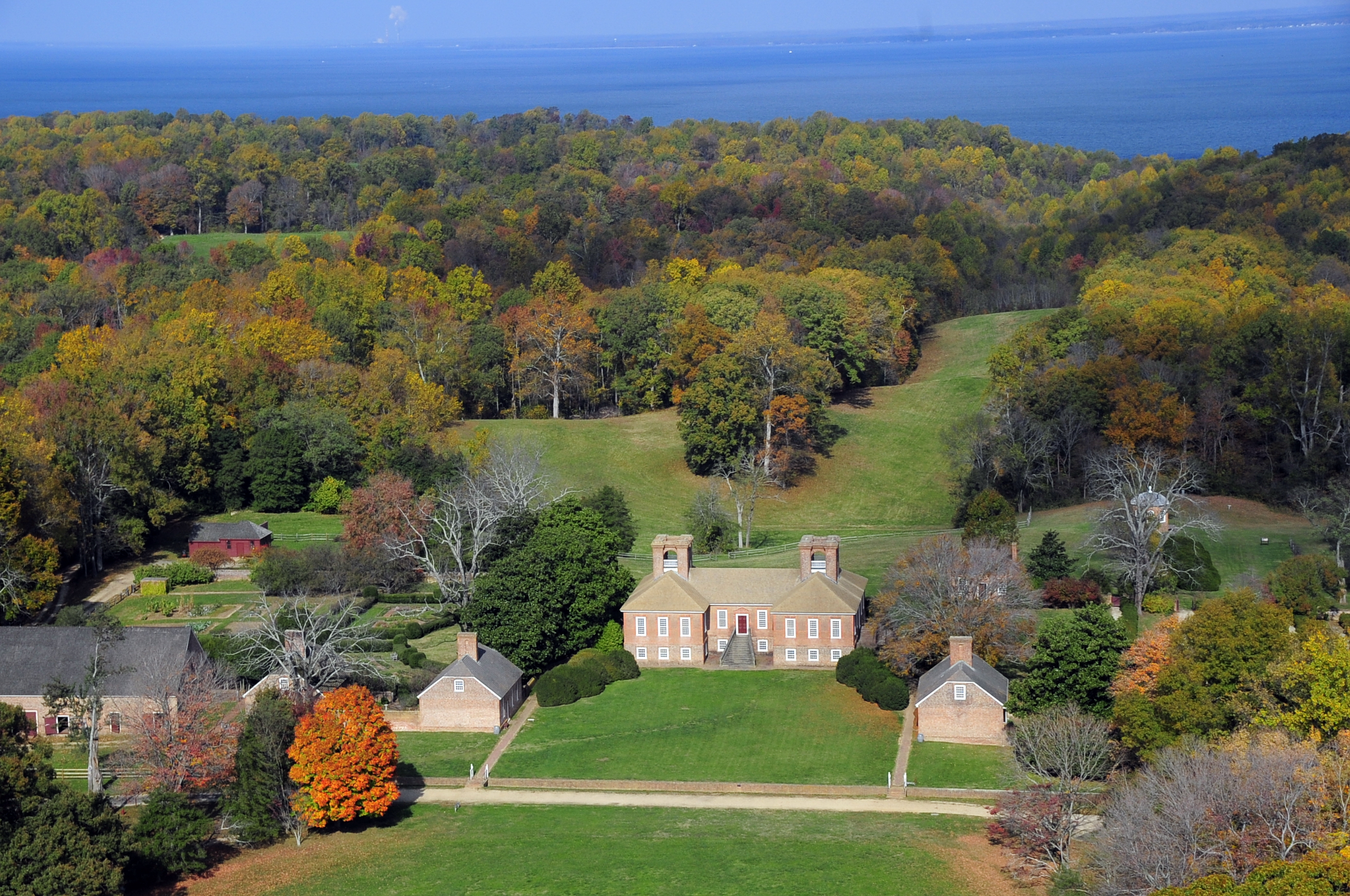 Aerial view of the Great House at Stratford Hall.