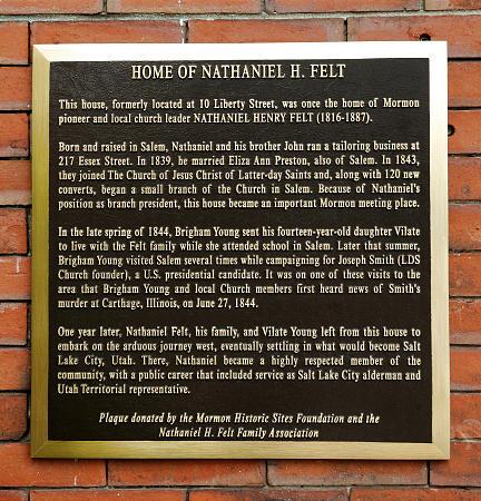 Mormon Historic Sites plaque on home