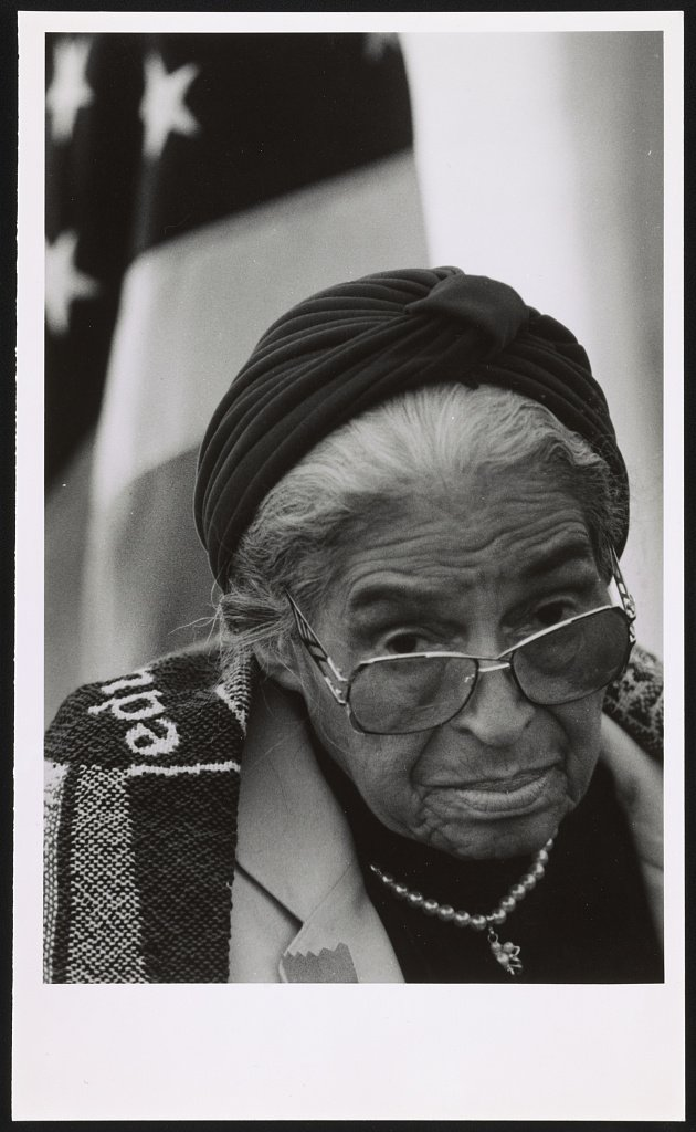 Rosa Parks at the groundbreaking ceremony of the Museum in 1998. Courtesy of the Library of Congress.