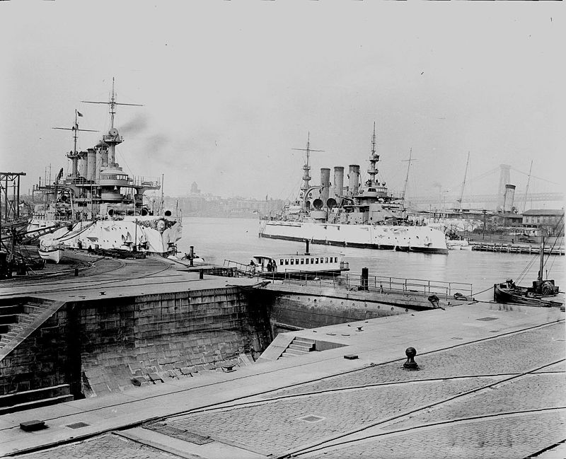 USS Connecticut and Nebraska in the yard in 1909