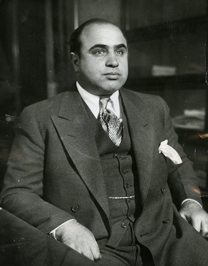 Al Capone in the 1930s, courtesy of the Chicago Bureau (Federal Bureau of Investigation)