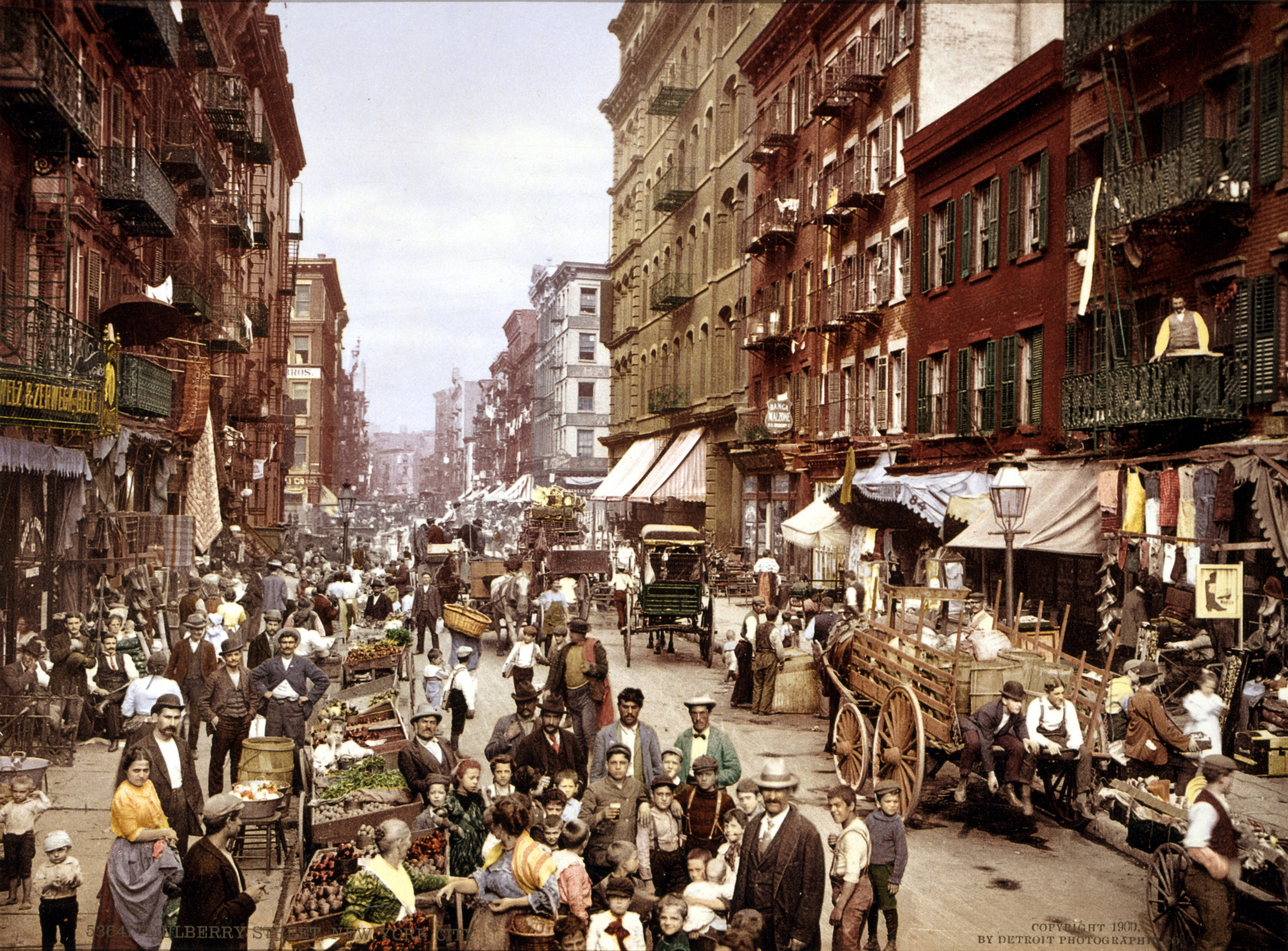 Mulberry Street, along which New York City's Little Italy is centered. Lower East Side, circa 1900. Credit: Library of Congress