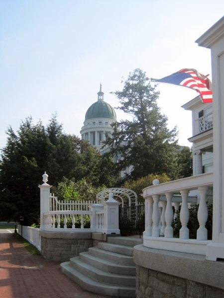 The granite steps that were constructed in 1984, with the Maine State Capitol in the distance
