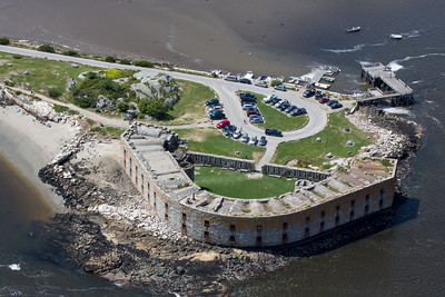 This photo gives an aerial view of Fort Popham, showing the 30-foot walls that overlook the Kennebec River.
