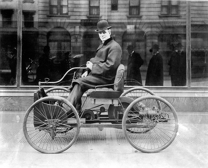 Henry Ford sitting atop is Quardricycle in 1896
