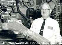 T.T. Wentworth, Jr. with a dinosaur bone