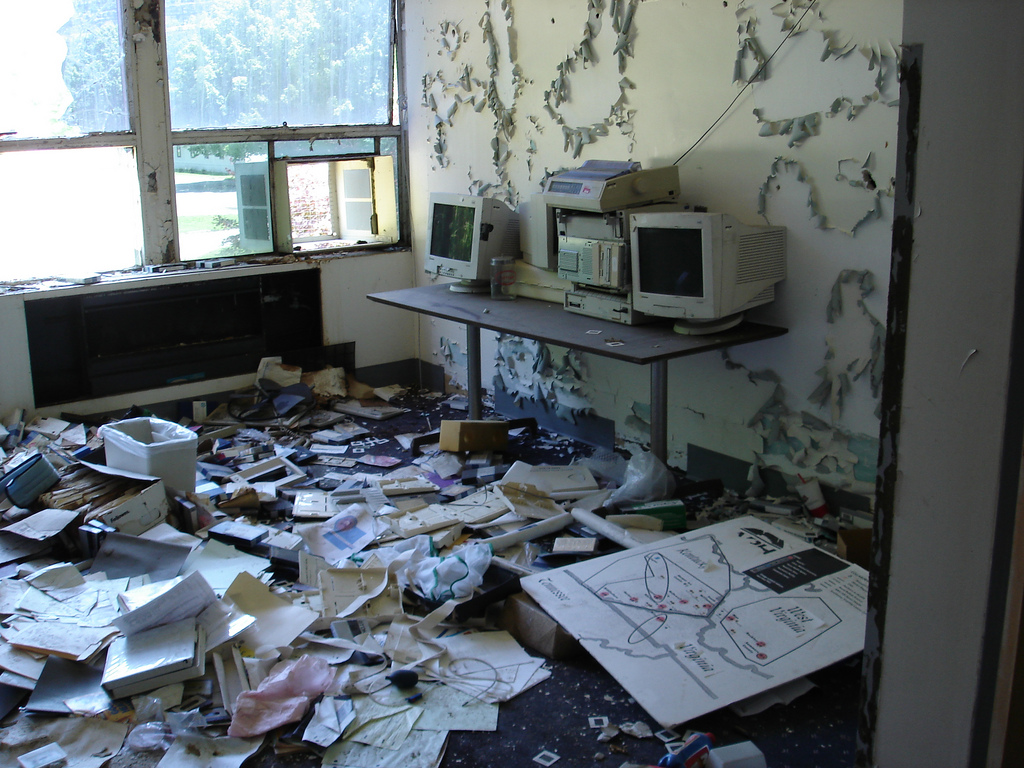 This photo demonstrates the condition of the hospital, including the failure to destroy medical files.
