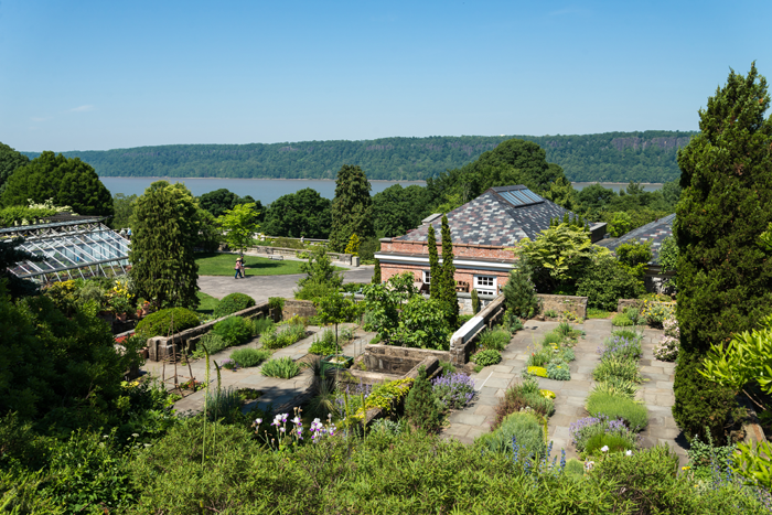 View of the gardens and Hudson River from the house