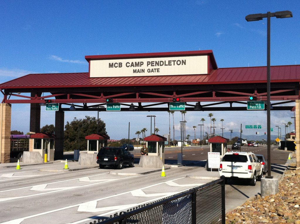 The main gate for Camp Pendleton