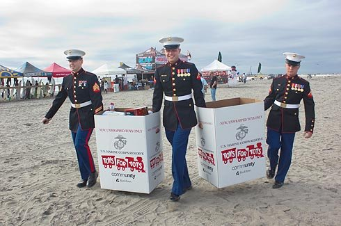 Camp Pendleton Marines collecting Toys for Tots on the beach