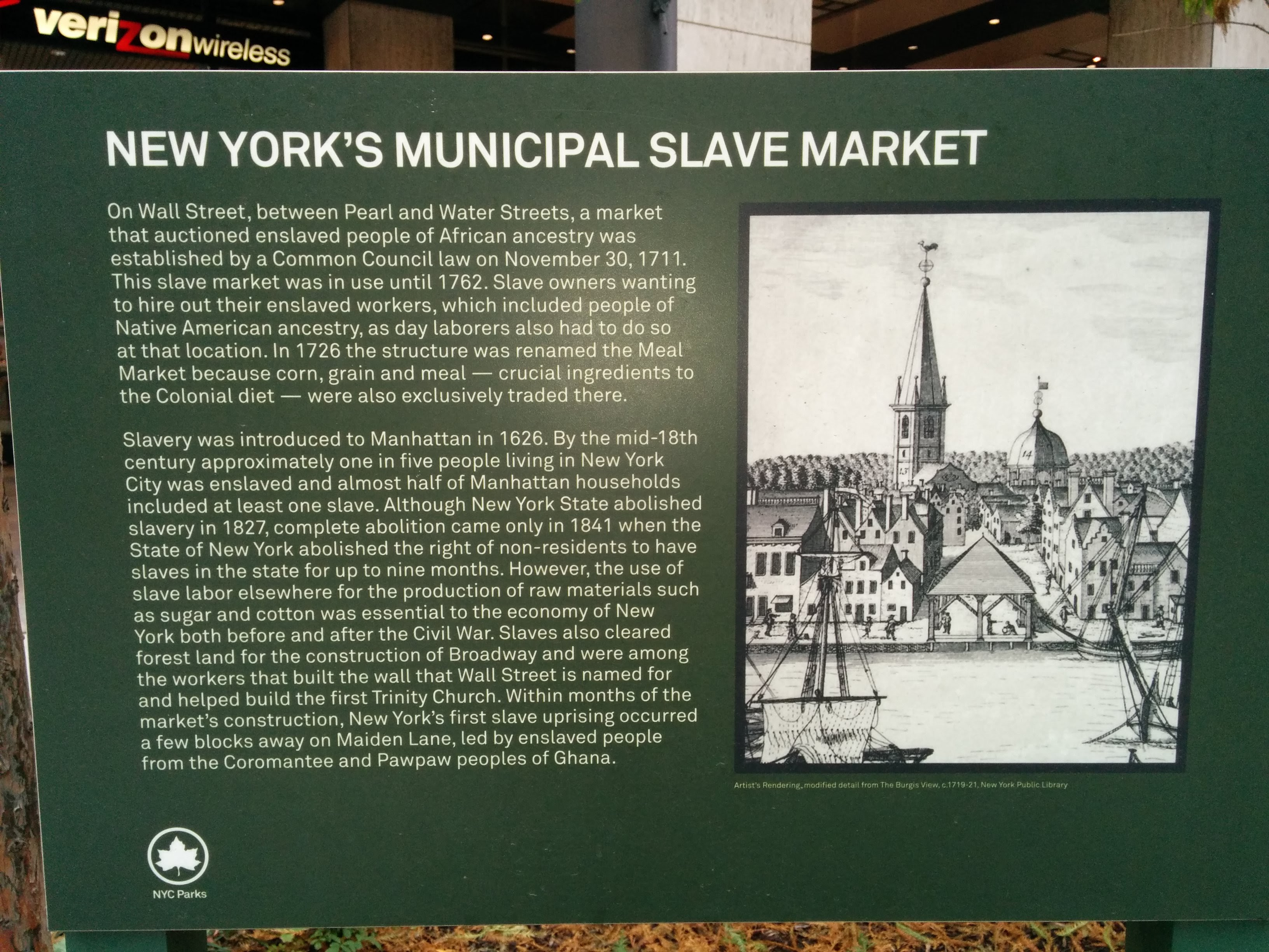 New York's Municipal Slave Market plaque