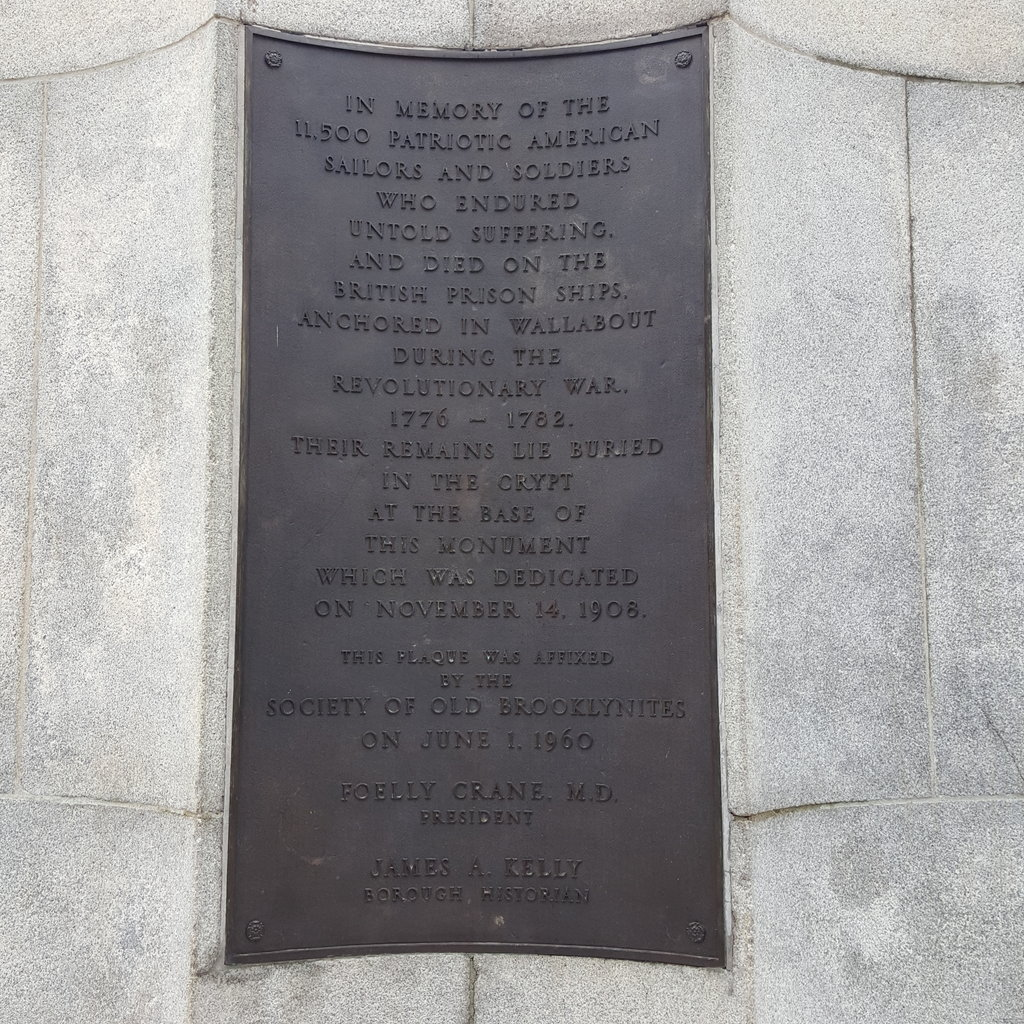 The Prison Ship Martyrs' Monument's Plaque.
