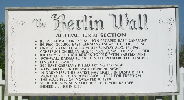 The marker at the site which talks about the Berlin Wall and the actual section that is beside.