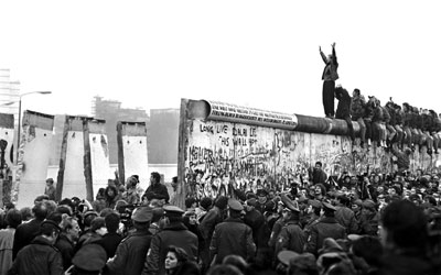 A photo of the Destruction of the Berlin Wall