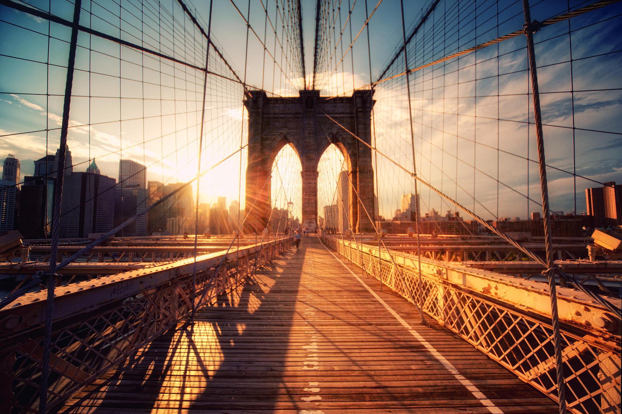 """Brooklyn Bridge Sunset"" by Philipp Klinger"