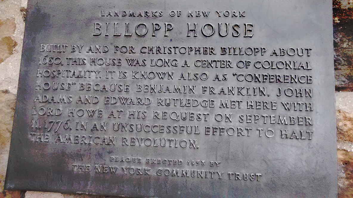 A plaque commemorating the Billopp house.