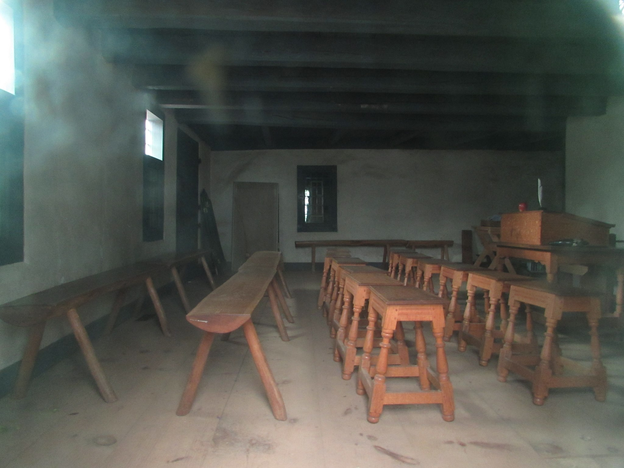 The building is used as a historic site and made to resemble its colonial appearance as a school and meeting house.