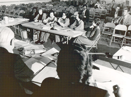 Members of the textbook selection committee testify before a National Education Association panel in December 1974.