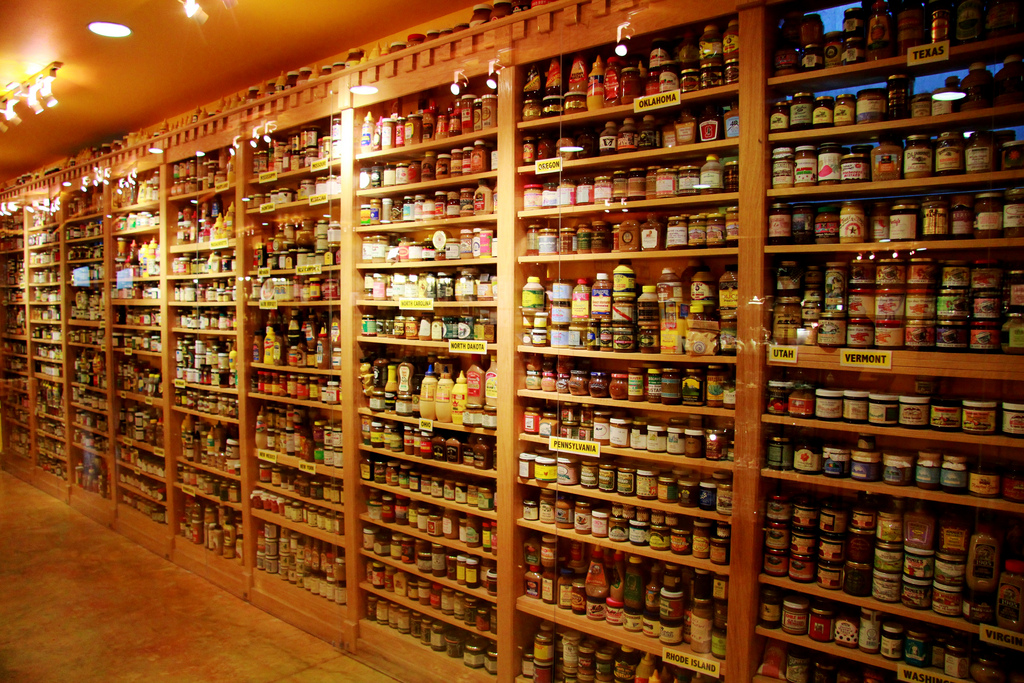 The shelves of mustard inside the National Mustard Museum.