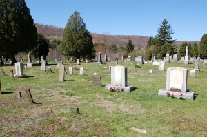 Nearby Harmony cemetery. The two large headstones center-left are of Isaac and Elizabeth Hale. On the far left stands the grave of Emma and Joseph's firstborn, Alvin, who died here not long after his birth.