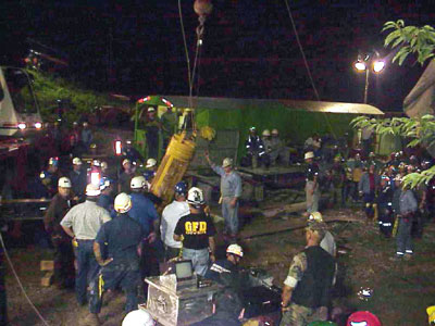 Rescuers working to bring the miners to the surface