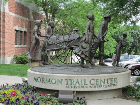 Monument to Mormon Pioneers in front of visitor center