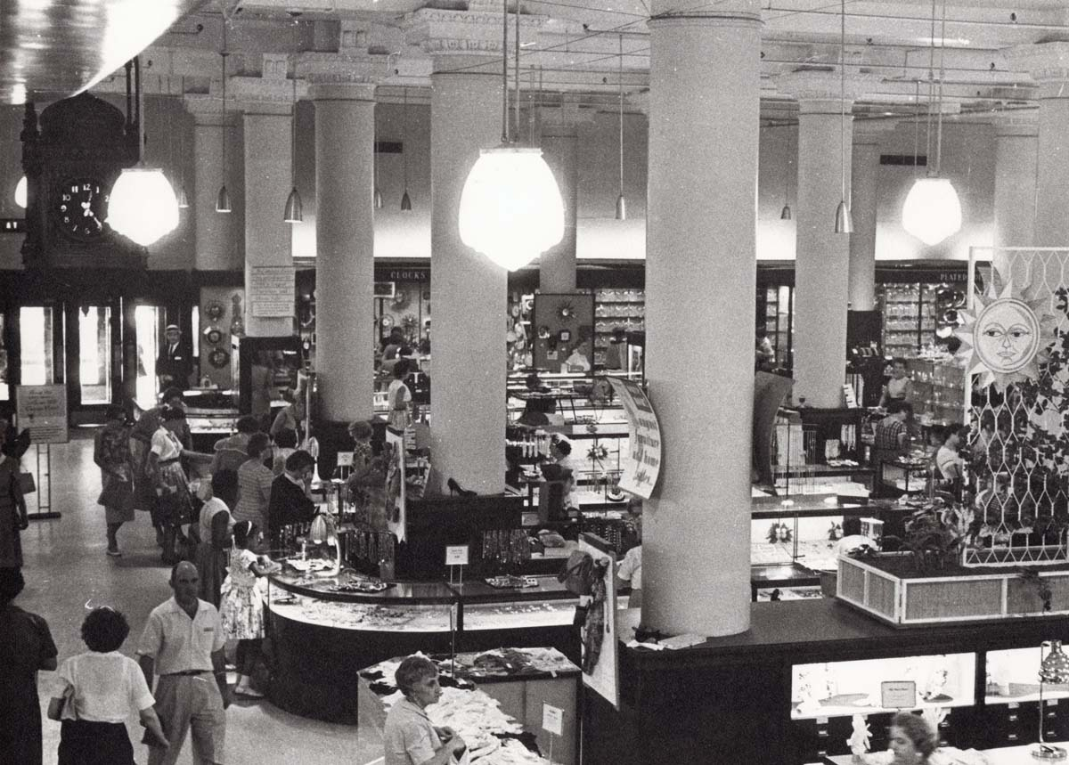 The interior of the Stix, Baer, and Fuller store in Downtown St. Louis in 1959.