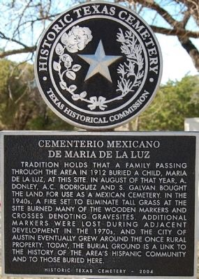 Historical marker for the cemetery