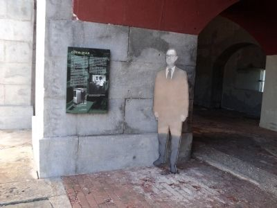 The Life-size figure next to the marker depicts a Sound Lab scientist from 1973. Photo By Bill Coughlin