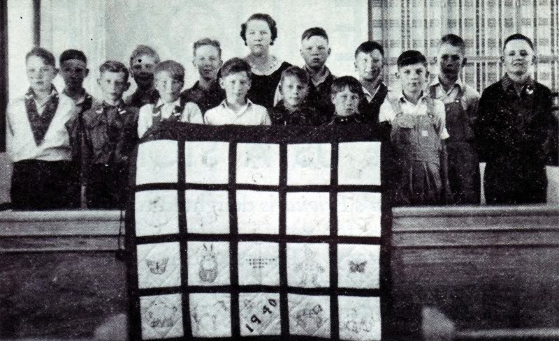 1940 photo of one of the congregation's primary kids that attended the chapel with one of the quilts they made for the local children's hospital