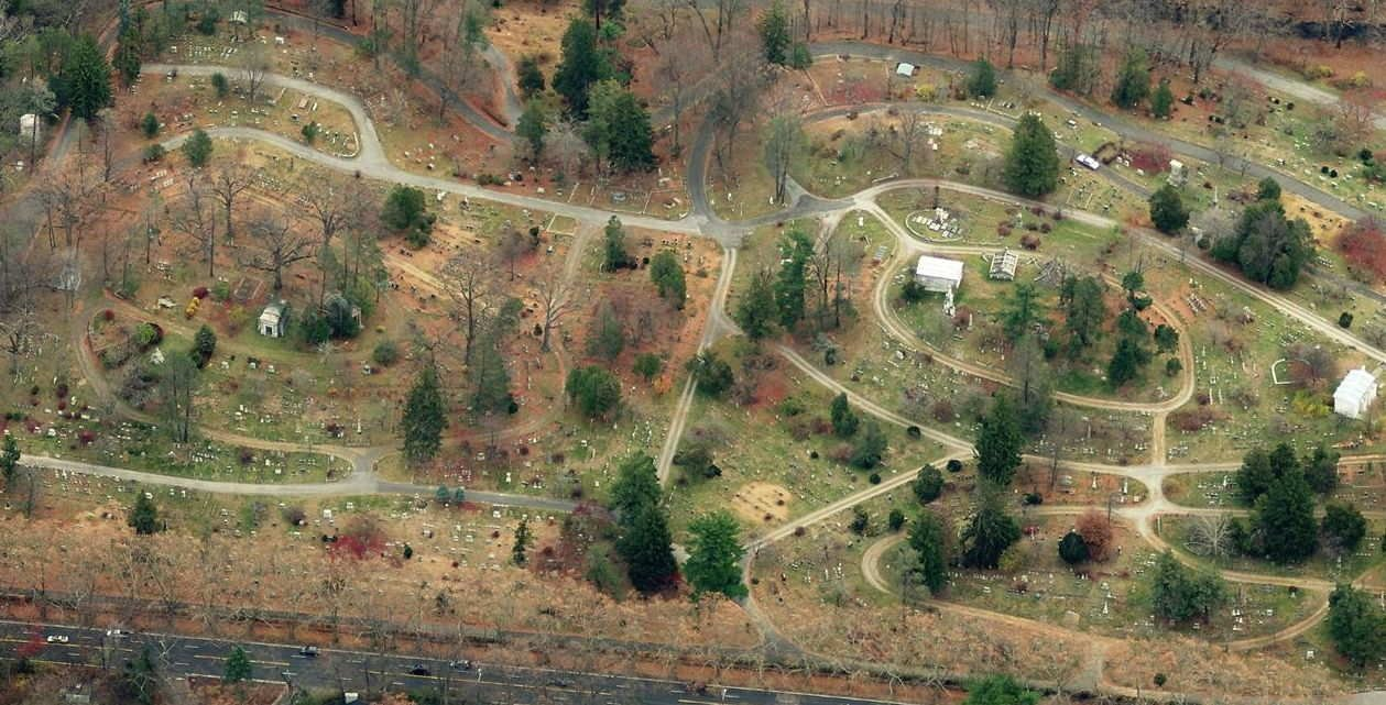 Aerial view of Sleepy Hollow Cemetery