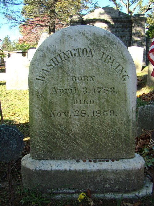 Washington Irving's headstone at Sleepy Hollow Cemetery