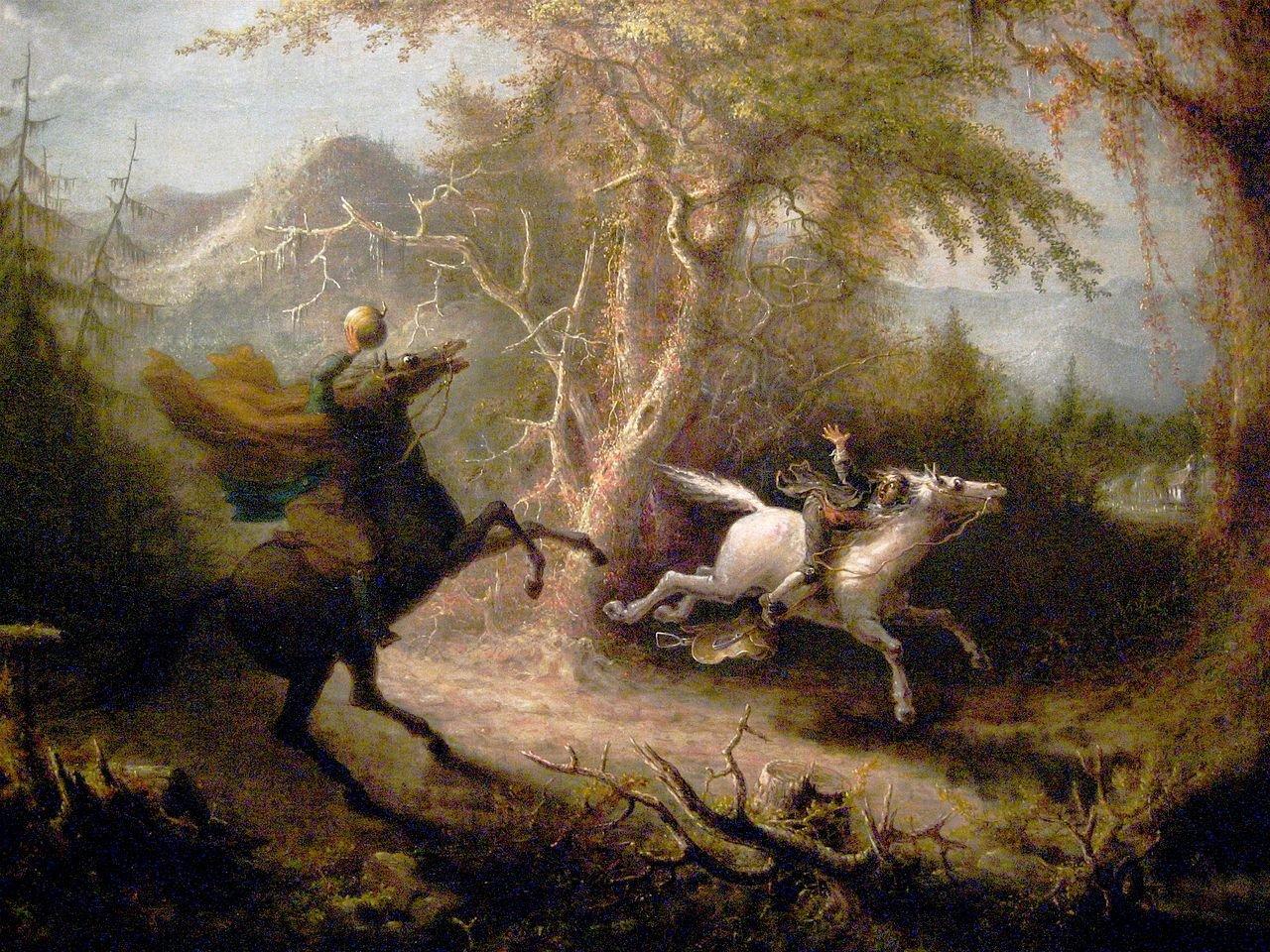 The Headless Horseman Pursuing Ichabod Crane by John Quidor, 1858