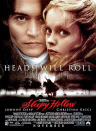 "Movie poster for the movie ""The Legend of Sleepy Hollow."" To the left is Johnny Depp as Ichabod Crane. To the right is, Christina Ricci as Katrina Van Tassel."