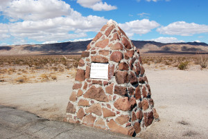 "Mormon Battalion Monument in Anza-Borrego. Plaque records what was left written about their experience while marching through: ""Nothing but more nothing"""