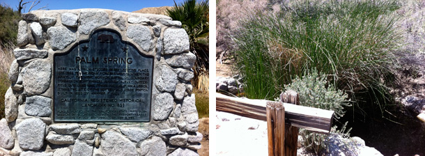 Monument to Mormon Battalion and the Overland Stage as well as a photo of a preserved portion of the Overland as it looks today in Palm Spring