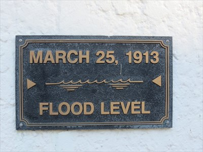 This flood level marker is located on the side of the Edwin Smith House in downtown Dayton.
