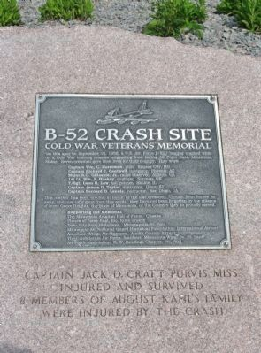 The historical marker showing the place where the B-52 crash happened. Seven fatalities were reported.