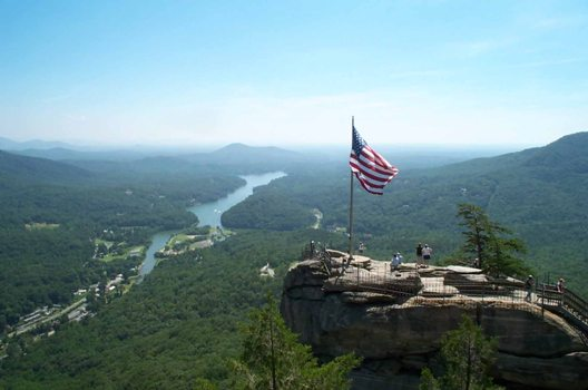 Chimney Rock is a beautiful park with many trials, such as the popular Hickory Nuts Falls Trail leading to a 400-foot waterfall--the second largest of its kind in the US. Chimney Rock State Park also offers rock climbing.