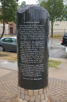 The back of the Colonel Charles Young Marker. Photo by Busta-Peck.