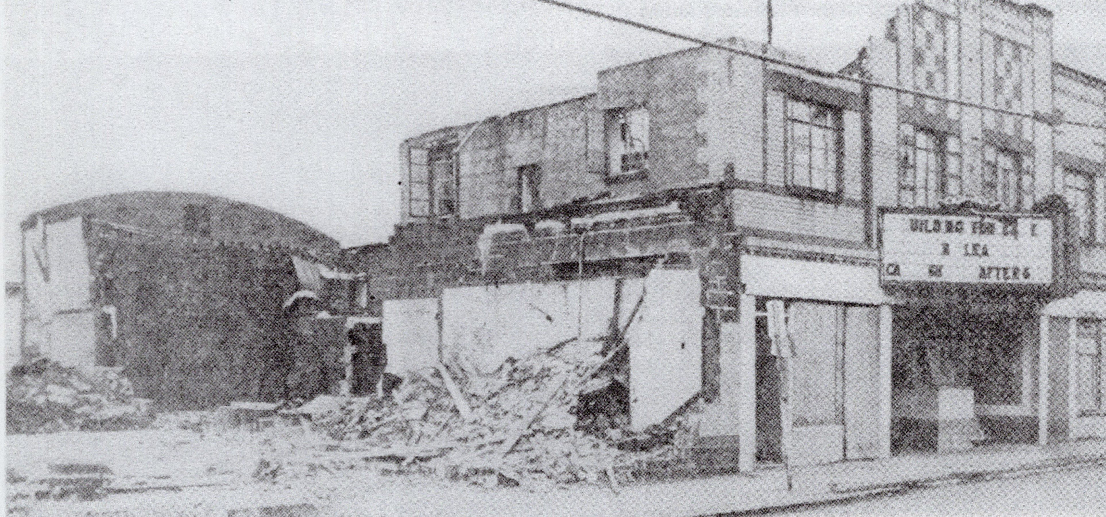 Urling's second theater, the Victory (named for its construction during WW2), awaits demolition to make way for a Haddad clothing store in 1969. The LaBelle is the oldest surviving theater in South Charleston.