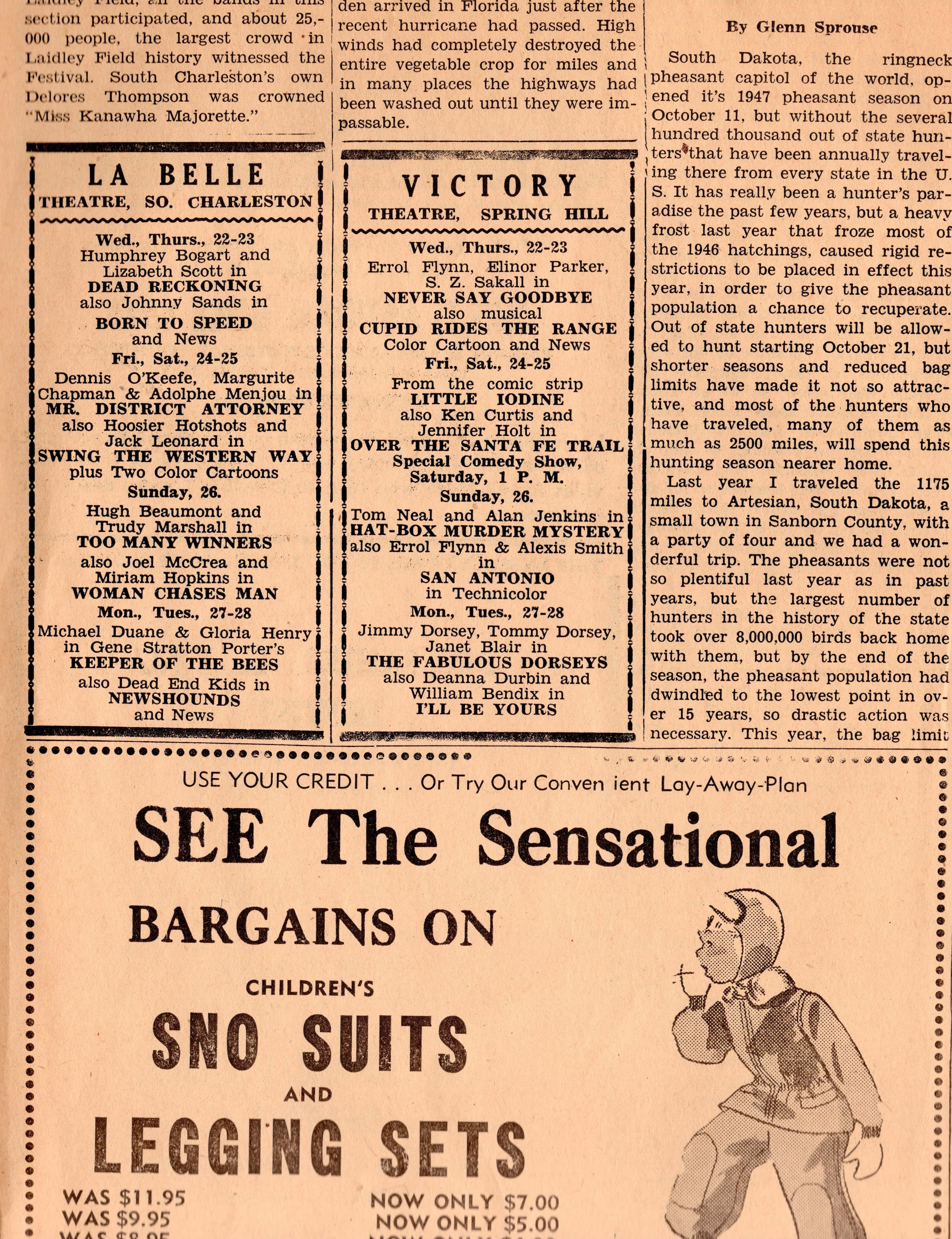 An excerpt from the South Charleston Free Press newspaper on Wednesday, Oct 22, 1947. Showtimes for Urling's two theaters, the LaBelle and Victory, are at upper left.