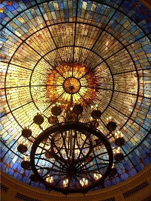 The sanctuary features this ornate stained-glass dome.
