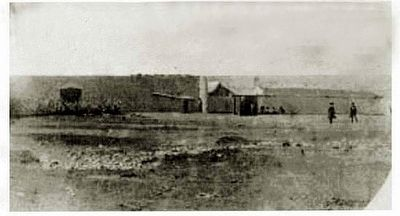 An old picture of Ft. Bridger showing part of the Mormon Wall