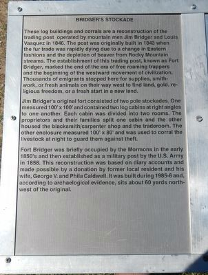 The Monument detailing Bridger's Stockades