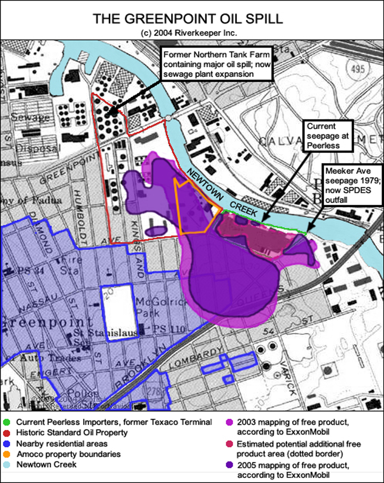 Affected area from the Greenpoint Oil Spill