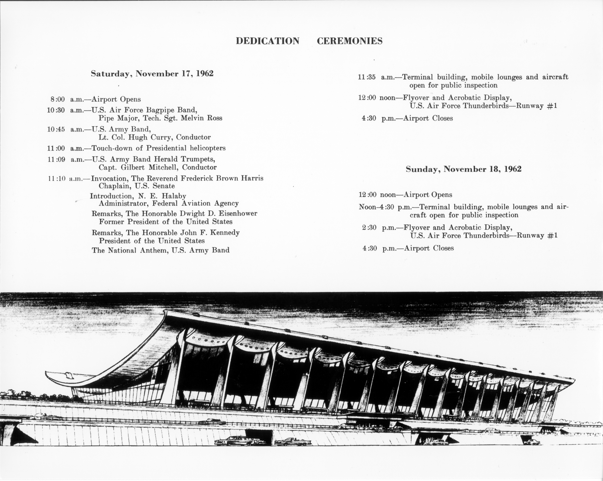 A copy of the program from the grand opening of the airport on November 17, 1962.